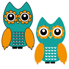 Two beautiful owl icon. Vector owl icons.