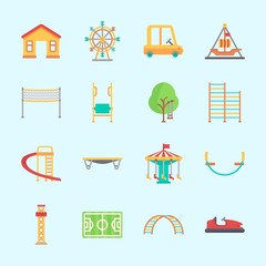 Icons about Amusement Park with pirate ship ride , climb , climbing, game zone, carousel and swing
