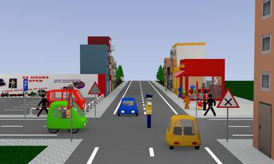 Stadtansicht mit Verkehrssituation: Verkehrsregelung durch einen Polizisten, frei fahren.