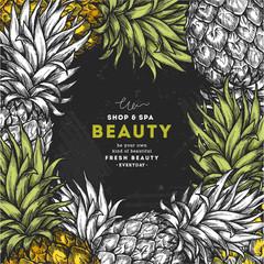 Pineapple fruit blackboard vintage design template. Botanical fruit. Engraved pineapple. Vector illustration