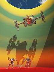 Roboter und Raumfahrzeug in einer fernen Welt