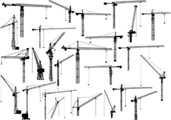 twenty five black building cranes on white
