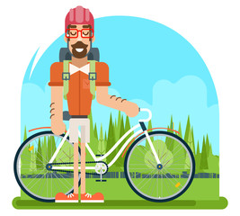 Forest Ride Bicycle Geek Hipster ycling Travel Nature Lifestyle Concept Planning Summer Vacation Tourism Journey Symbol Man Bike Flat Design Template Vector Illustration