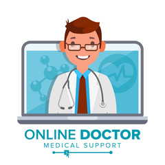 Online Doctor Man Vector. Medical Consultation Concept Design. Male Look Out Laptop. Online Medicine Support. Isolated Flat Illustration