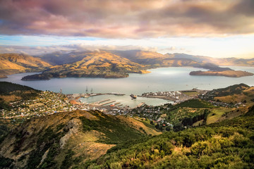 Printed roller blinds Salmon Lyttelton harbor and Christchurch at sunset, New Zealand