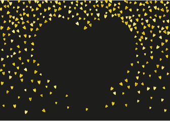Valentine background with gold glitter hearts. February 14th day. Vector confetti for valentine background template. Grunge hand drawn texture. Love theme for special business offer, banner, flyer.