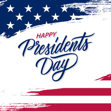 Happy Presidents Day greeting card with brush stroke background in United States national flag colors and hand lettering text design. Vector illustration.