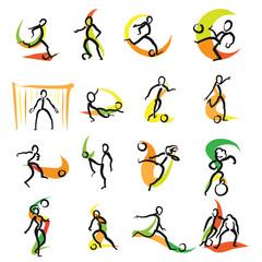 16 Soccer Doodle Icons Set