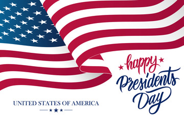 Happy Presidents Day celebrate banner with waving United States national flag and hand lettering holiday greetings. Vector illustration.