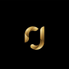 Initial lowercase letter rj, swirl curve rounded logo, elegant golden color on black background