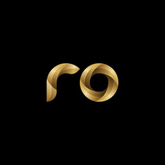 Initial lowercase letter ro, swirl curve rounded logo, elegant golden color on black background