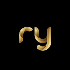 Initial lowercase letter ry, swirl curve rounded logo, elegant golden color on black background