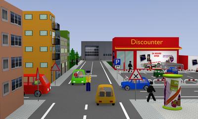 Stadtansicht mit Discounter, Parkplatz, Autos, Straßenschildern und Polizist. 3d render