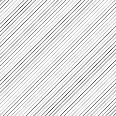 Geometric striped background with black continuous parallel diagonal lines. Vector illustration.