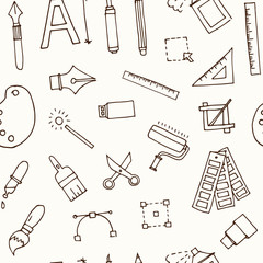 Hand drawn doodle design tools seamless pattern