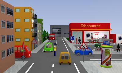 Stadtansicht mit Discounter, Parkplatz, Autos, Straßenschildern und Polizist der den Verkehr regelt. 3d render