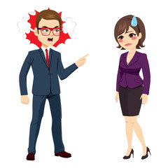 Angry businessman with pointing finger firing  and yelling to young sad businesswoman standing