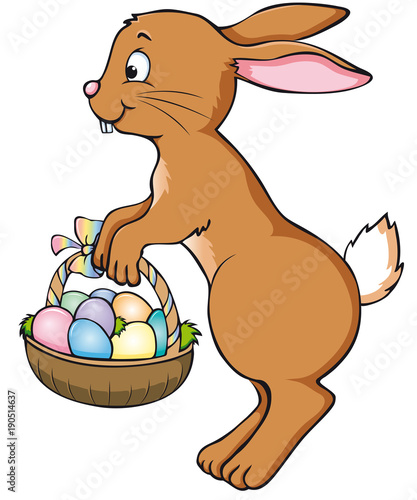 Cute Jumping Easter Bunny With Basket Icon