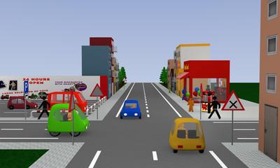 Stadtansicht mit rechts vor links Kreuzung.