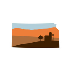 Kansas State Shape with Farm at Sunset w Windmill, Barn, and a Tree