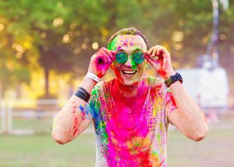 Guy celebrate holi festival