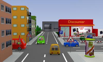 Stadtansicht mit rechts vor links Kreuzung, vier bunten Autos und Discounter mit Parkplatz. 3d render