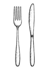 sketch fork and knife cutlery vector