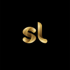 Initial lowercase letter sl, swirl curve rounded logo, elegant golden color on black background