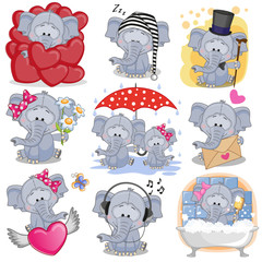 Set of Cute Cartoon elephants