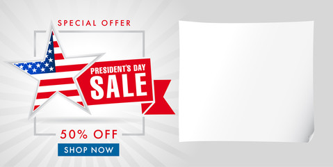Presidents Day sale light stripes banner template. Happy President`s Day Sale discount labels for web banner special offer vector illustration