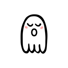 Cute ghosts with closed eyes, blush and open mouth. Hand drawn illustration. Print for Halloween.