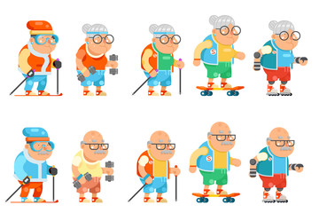 Fitness Granny Grandfather Adult Healthy Activities Old Age Man Woman Characters Set Cartoon Flat Design Vector illustration
