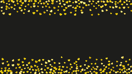 Valentine day border with gold glitter sparkles. February 14th day. Vector confetti for valentine day border template. Grunge hand drawn texture. Love theme for gift coupons, vouchers, ads, events.