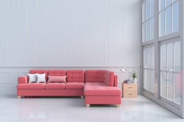 Red - pink sofa in white living room decor with tree,pillows, Wood bedside table, Window, White wall&floor. Rooms of Love on Valentine`s Day. Background and interior. 3D render. copy space.