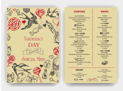 Vector illustration sketch hand drawn elements. Romantic, love, hearts, sweets, flowers, gifts. Card Valentine's day. Vintage Menu.