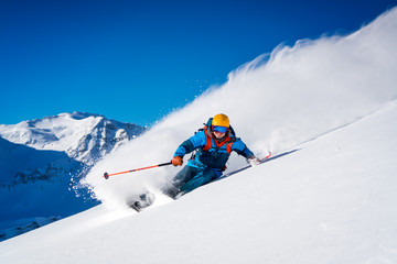 Man Skiing in the Austrian Alps, Sportgastein, Salzburg, Austria