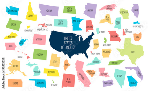 USA map with separated states\