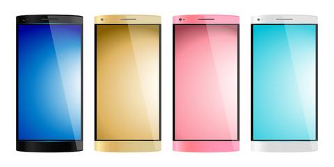 スマートフォン4色カラバリのイラスト