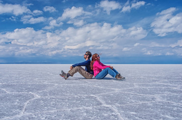 Couple at Salar de Uyuni , Bolivia