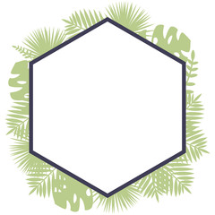 A border polygonal frame with tropical leaves behind. Simple vector illustration in pastel colors.