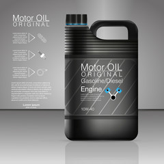 Plastic cans for engine oil and technical fluids.  Eps 10 Vector canister oil bottle engine, oil background, vector illustration. Black bottle engine oil.