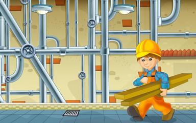 cartoon scene with repairman in the basement working - illustration for children