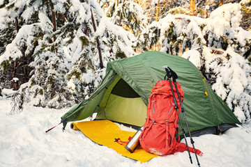 Walk through the winter forest with a backpack and tent.