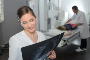 Woman looking at xray