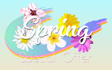 Floral Spring Graphic Design with colorful flowers for t-shirt, fashion, prints, .celebration. vector illustration