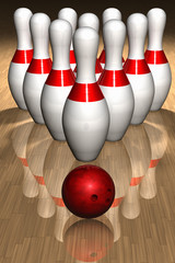 3D render of bowling  pins and ball