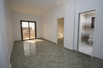 Interior design of an empty unfinished show home apartment