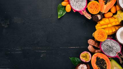 Tropical fruits, papaya, Dragon Fruit, rambutan, tamarind, cactus fruit, avocado, granadilla,...