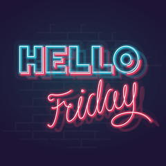 Neon trendy geometric hello friday sign. Blue and pink glowing memphis hello with handwritten friday words. Square line art 1980s style neon illustration on brick wall background.