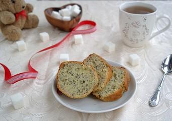 Romantic tea with lemon and poppy cake